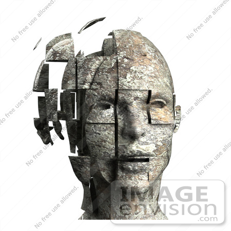 #61036 Royalty-Free (RF) Illustration Of A 3d Woman's Head With Floating Particles - Version 5 by Julos