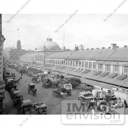 #61038 Royalty-Free Historical Stock Photo Of The Bustling Quincy Market In Front Of The Agricultural Warehouse In Boston, Massachusetts In 1904 by JVPD