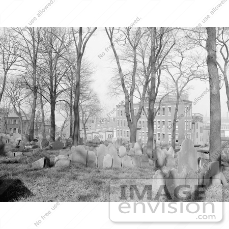 #61039 Royalty-Free Historical Stock Photo Of Trees And Graves At Copps Hill Burying Grounds, Boston, Massachusetts, In 1904 by JVPD