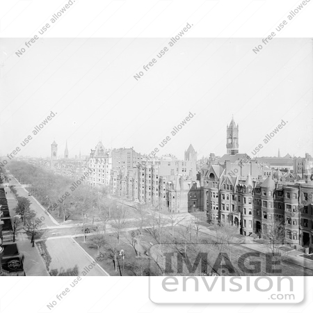 #61041 Royalty-Free Historical Stock Photo Of A View Down On Commonwealth Avenue, Boston, Massachusetts In 1902. by JVPD