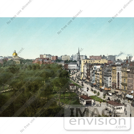 #61042 Royalty-Free Historical Photochrom Stock Photo Of A View Down On Tremont Street, Boston, Massachusetts In 1904 by JVPD