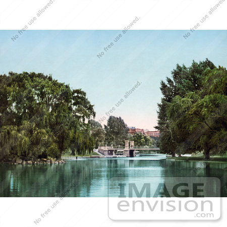 #61043 Royalty-Free Historical Photochrom Stock Photo Of Trees, A Bridge And Lake In The Public Garden, Boston, Masachusetts In 1900 by JVPD