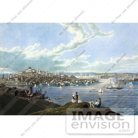#61045 Royalty-Free Historical Illustration Of People With A View Of Boston And The Harbor At Dorchester Heights by JVPD