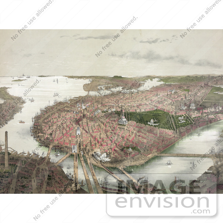 #61047 Royalty-Free Historical Illustration Of An Aerial View Of Boston As Seen From The North by JVPD