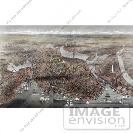 #61048 Royalty-Free Historical Illustration Of An Aerial View Of The City Of Boston Massachusetts With Ships In The Harbor by JVPD