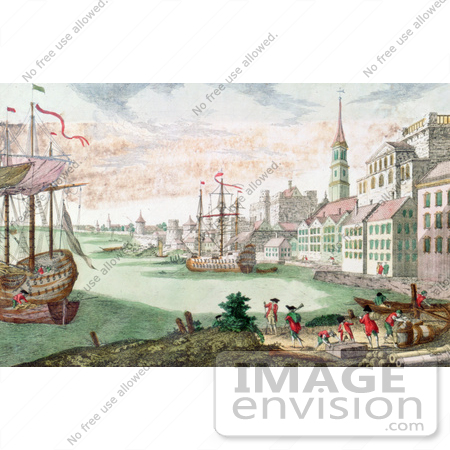 #61049 Royalty-Free Historical Illustration Of British Soldiers And Boats In The Harbor, Boston, Massachusetts by JVPD