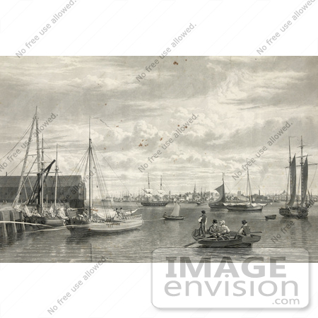 #61050 Royalty-Free Historical Illustration Of A Sepia Engraving Of Boats At The West End Of The Navy Yard In Boston by JVPD
