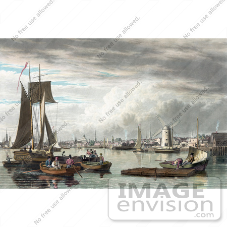 #61055 Royalty-Free Historical Illustration Of People And Boats In The Harbor Of Boston, As Seen From City Point Near Sea Street by JVPD