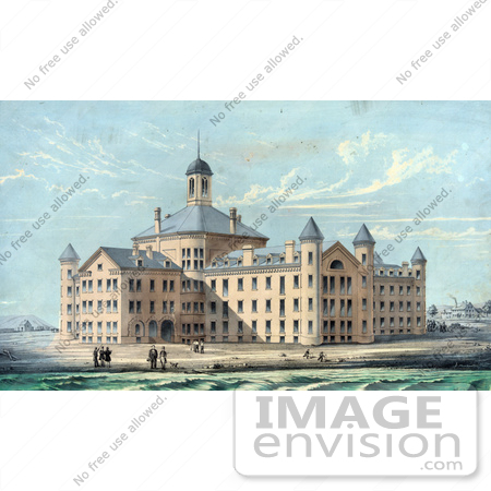 #61056 Royalty-Free Historical Illustration Of People On The Beach At New Alms House For The City Of Boston In Massachusetts, On Deer Island by JVPD