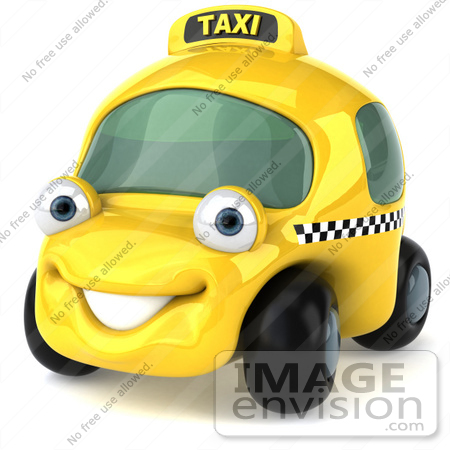 #61060 Royalty-Free (RF) Illustration Of A 3d Yellow Taxi Cab Character - Version 1 by Julos