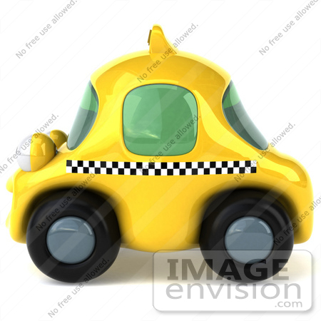#61061 Royalty-Free (RF) Illustration Of A 3d Yellow Taxi Cab Character - Version 2 by Julos