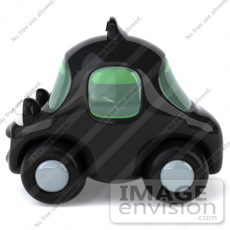 #61063 Royalty-Free (RF) Illustration Of A 3d Black Taxi Cab Character - Version 2 by Julos