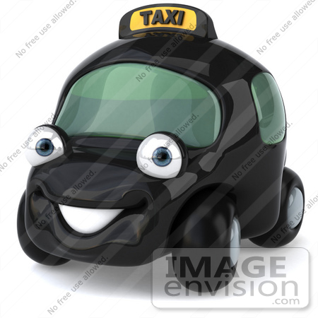 #61064 Royalty-Free (RF) Illustration Of A 3d Black Taxi Cab Character - Version 1 by Julos