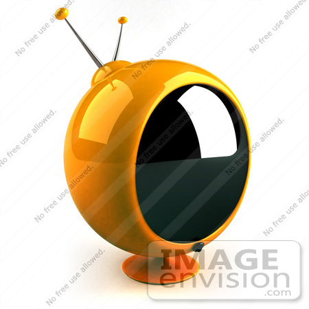 #61067 Royalty-Free (RF) Illustration Of A 3d Round Yellow Retro Television - Version 3 by Julos