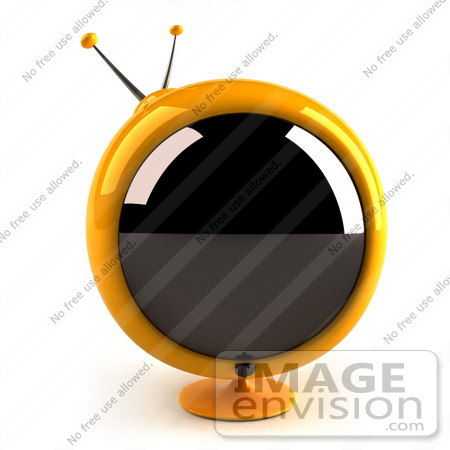 #61068 Royalty-Free (RF) Illustration Of A 3d Round Yellow Retro Television - Version 1 by Julos