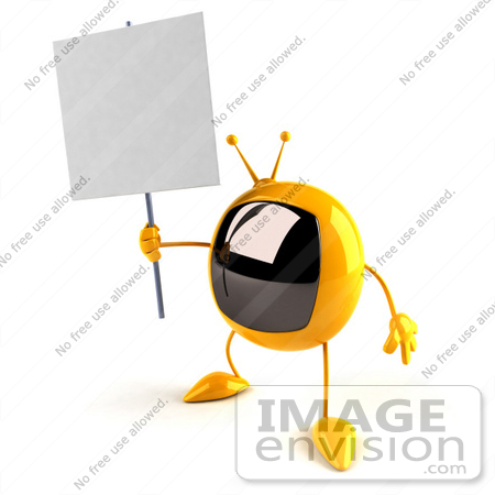 #61076 Royalty-Free (RF) Illustration Of A 3d Yellow Square Television Character Holding Up A Blank Sign - Version 4 by Julos