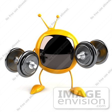#61081 Royalty-Free (RF) Illustration Of A 3d Yellow Square Television Character Lifting Weights by Julos