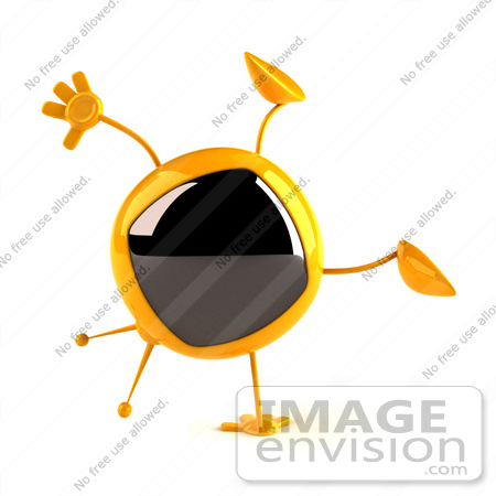 #61085 Royalty-Free (RF) Illustration Of A 3d Yellow Square Television Character Doing A Cartwheel - Version 1 by Julos