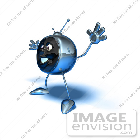 #61096 Royalty-Free (RF) Illustration Of A 3d Chrome Tv Character Holding His Arms Open - Version 6 by Julos