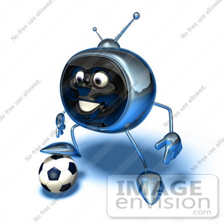 #61099 Royalty-Free (RF) Illustration Of A 3d Chrome Tv Character Playing Soccer - Version 12 by Julos