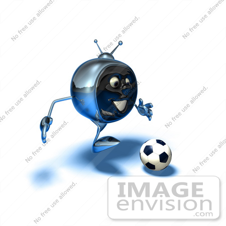 #61101 Royalty-Free (RF) Illustration Of A 3d Chrome Tv Character Playing Soccer - Version 10 by Julos