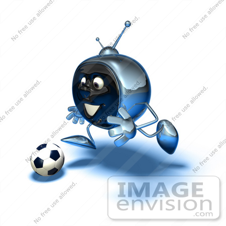 #61103 Royalty-Free (RF) Illustration Of A 3d Chrome Tv Character Playing Soccer - Version 11 by Julos
