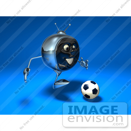 #61119 Royalty-Free (RF) Illustration Of A 3d Chrome Tv Character Playing Soccer - Version 8 by Julos