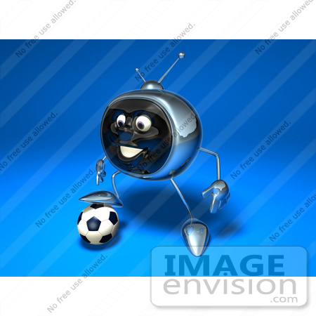 #61121 Royalty-Free (RF) Illustration Of A 3d Chrome Tv Character Playing Soccer - Version 6 by Julos
