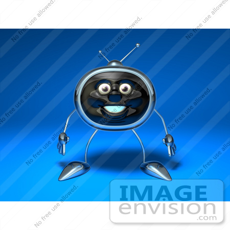 #61123 Royalty-Free (RF) Illustration Of A 3d Chrome Tv Character Standing And Facing Front - Version 2 by Julos