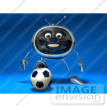 #61127 Royalty-Free (RF) Illustration Of A 3d Chrome Tv Character Playing Soccer - Version 5 by Julos