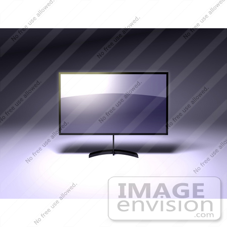 #61130 Royalty-Free (RF) Illustration Of A 3d Slim LED TV On A Raised Mount - Version 1 by Julos