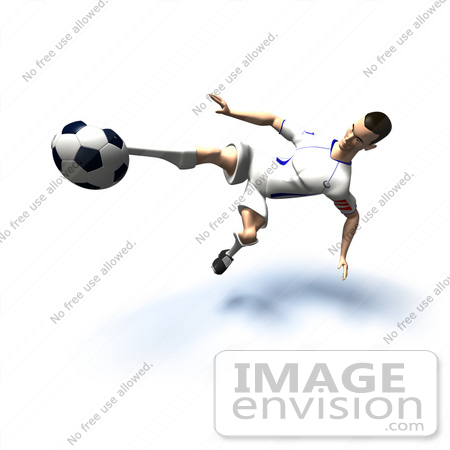 #61136 Royalty-Free (RF) Illustration Of A 3d Soccer Player Kicking A Soccer Ball - Version 29 by Julos