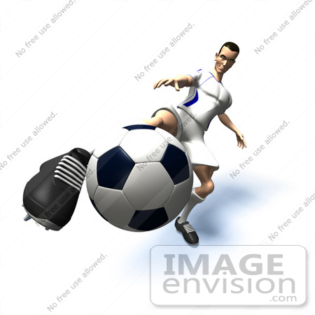 #61138 Royalty-Free (RF) Illustration Of A 3d Soccer Player Kicking A Soccer Ball - Version 20 by Julos