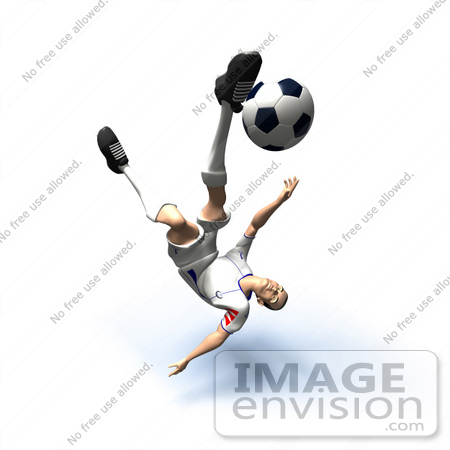 #61140 Royalty-Free (RF) Illustration Of A 3d Soccer Player Kicking A Soccer Ball - Version 30 by Julos