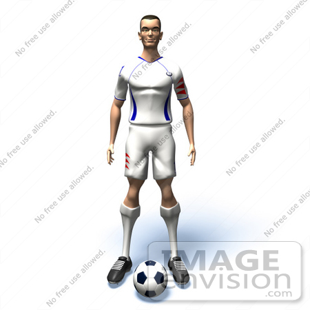 #61142 Royalty-Free (RF) Illustration Of A 3d Soccer Player Standing Over A Soccer Ball - Version 1 by Julos