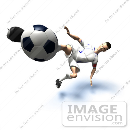 #61146 Royalty-Free (RF) Illustration Of A 3d Soccer Player Kicking A Soccer Ball - Version 32 by Julos