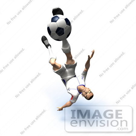 #61147 Royalty-Free (RF) Illustration Of A 3d Soccer Player Kicking A Soccer Ball - Version 31 by Julos