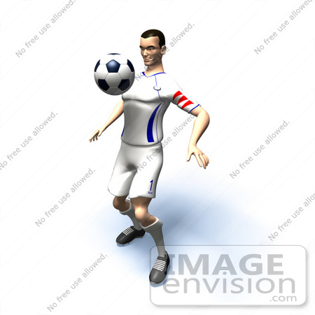 #61148 Royalty-Free (RF) Illustration Of A 3d Soccer Player Bouncing A Ball Off Of His Chest - Version 7 by Julos
