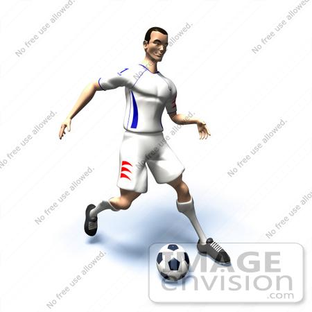 kicking soccer ball. 3d Soccer Player Kicking A