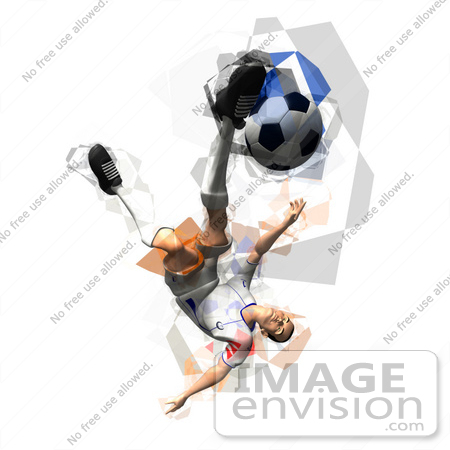 #61152 Royalty-Free (RF) Illustration Of A 3d Soccer Player Kicking A Soccer Ball - Version 35 by Julos