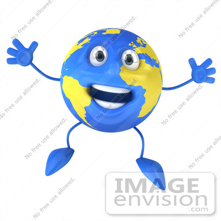 #61155 Royalty-Free (RF) Illustration Of A 3d Blue And Yellow Globe Character Jumping by Julos