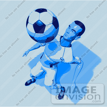 #61167 Royalty-Free (RF) Illustration Of A 3d Soccer Character Bouncing A Ball Off Of His Chest - Version 10 by Julos