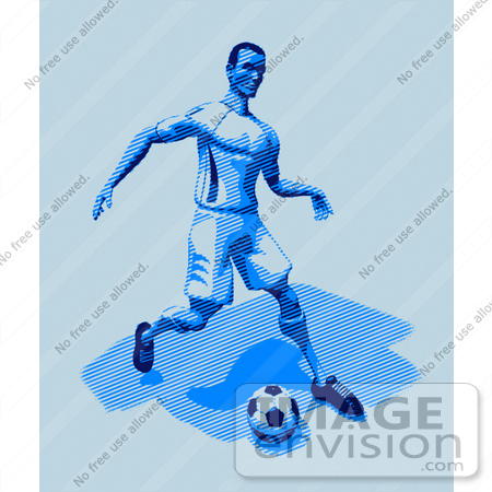 #61168 Royalty-Free (RF) Illustration Of A 3d Soccer Character Kicking A Soccer Ball - Version 28 by Julos
