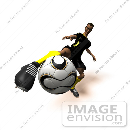 #61172 Royalty-Free (RF) Illustration Of A 3d Soccer Player Kicking A Soccer Ball - Version 13 by Julos