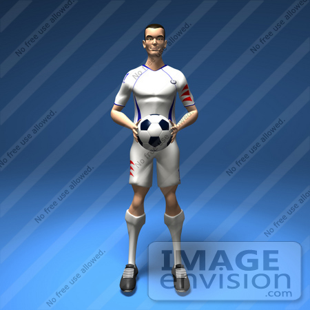#61181 Royalty-Free (RF) Illustration Of A 3d Soccer Player Holding A Soccer Ball - Version 1 by Julos