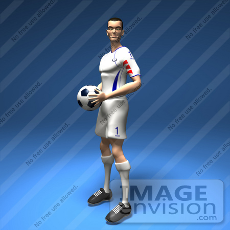 #61189 Royalty-Free (RF) Illustration Of A 3d Soccer Player Holding A Soccer Ball - Version 2 by Julos