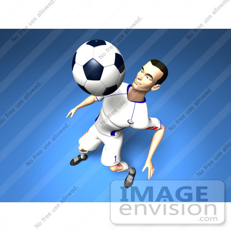 #61191 Royalty-Free (RF) Illustration Of A 3d Soccer Player Bouncing A Ball Off Of His Chest - Version 4 by Julos