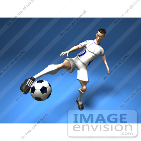 #61192 Royalty-Free (RF) Illustration Of A 3d Soccer Player Kicking A Soccer Ball - Version 6 by Julos