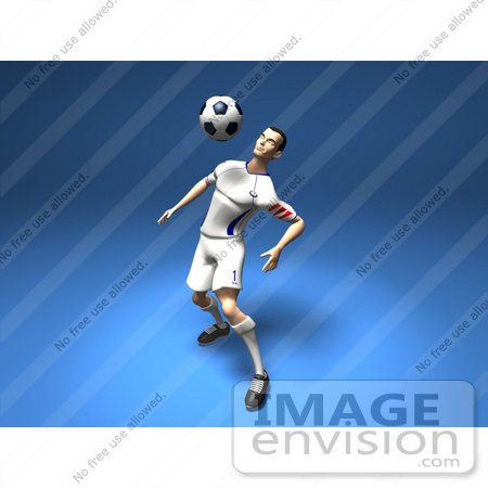 #61193 Royalty-Free (RF) Illustration Of A 3d Soccer Player Bouncing A Ball Off Of His Chest - Version 3 by Julos