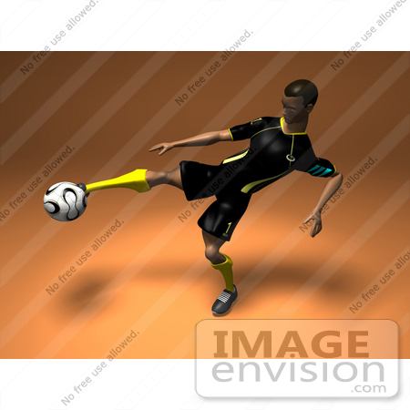 #61196 Royalty-Free (RF) Illustration Of A 3d Soccer Player Kicking A Soccer Ball - Version 2 by Julos